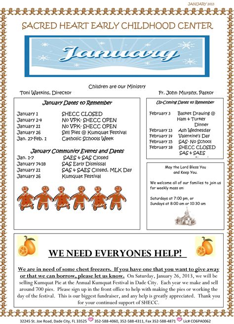 January 2013 Newsletter Sacred Heart Early Childhood Center Early Childhood Newsletter Templates