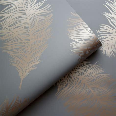 statement grey feather metallic wallpaper departments