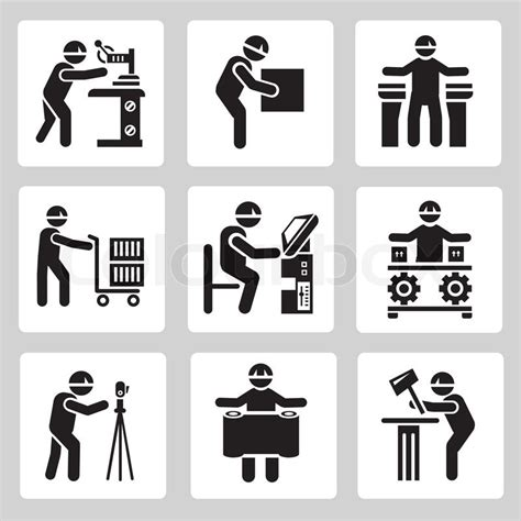 Craftsman Home Plans With Pictures Technician Work Industrial Work Icons Stock Vector