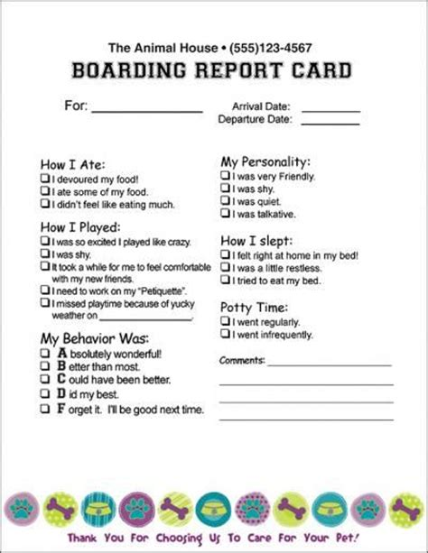 free printable pet report card template report card future kennels doggies