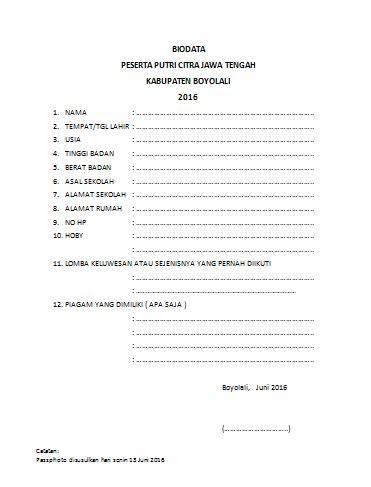 contoh biodata pns info sma smk kabupaten boyolali contoh biodata peserta