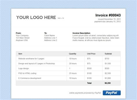 invoice html template free printable invoice