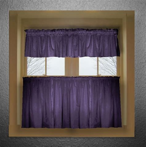 Purple color tier kitchen curtain two panel set
