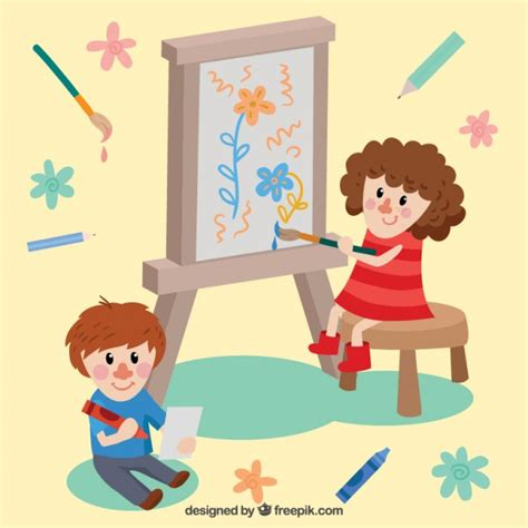 children s painting free for pc two beautiful painting vector free