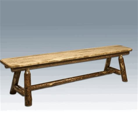 pine log bench amish quot glacier quot pine plank style log bench