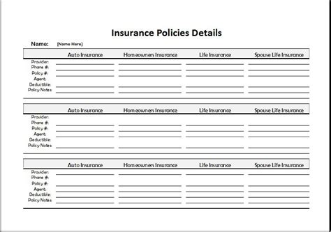 insurance summary template insurance policies record sheet for excel word excel