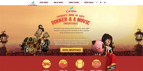 Book Vip Sweepstakes - cacique s book of life dinner and a movie sweepstakes