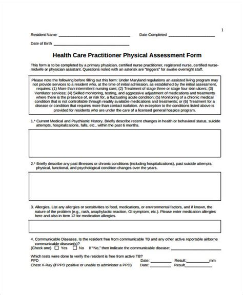 nursing assessment form physical assessment form physical examination