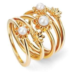 set of 5 pearl flower stacking rings gold plated