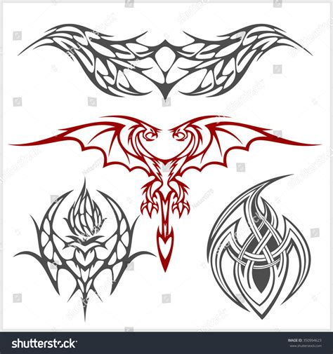 symmetrical tribal tattoos symmetric set tribal style on stock vector