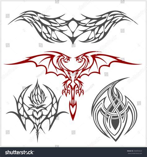 symmetrical tribal tattoos symmetric set tribal style on stock vector