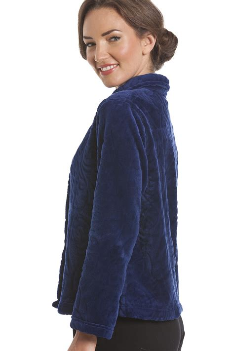 fleece bed jacket luxury supersoft navy blue button up fleece bed jacket
