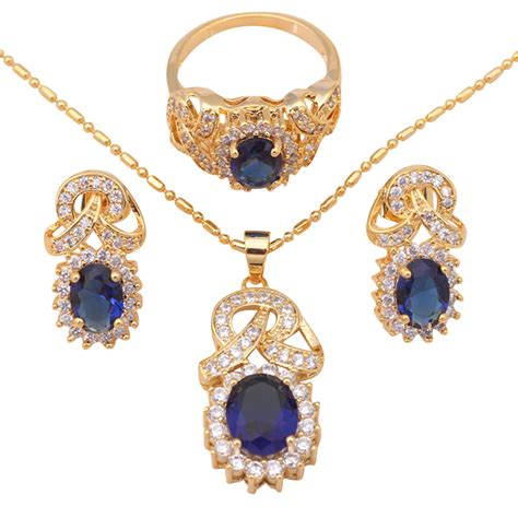 buy fashion jewelry gold plated blue crystal zircon best quality earrings necklace ring sz 8 9