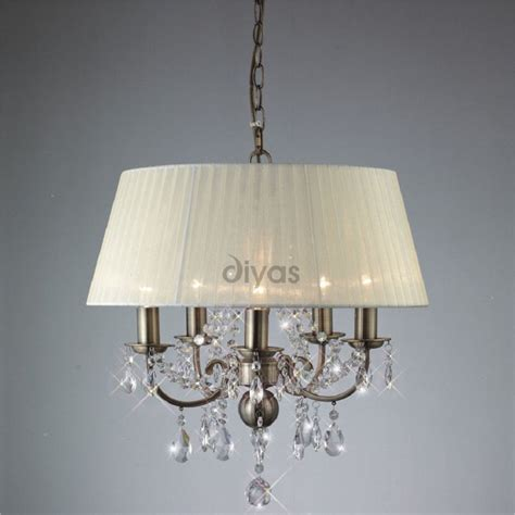 Antique Brass Ceiling Lights Uk Diyas Uk Il Il30048 Antique Brass Five Light Pendant Ceiling Fitting With Ivory