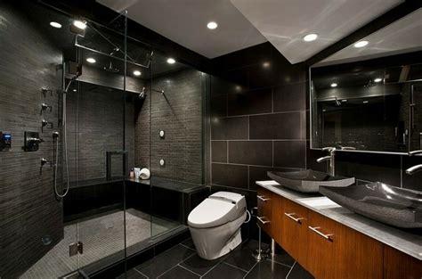 Incroyable Grand Meuble Salle De Bain #5: salle-bain-noir-bois-carrelage-noir-meuble-sous-vasques-bois.jpg