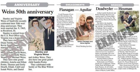 exle 50th wedding anniversary newspaper announcements anniversary announcement albanyherald