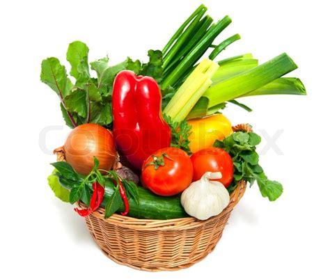 vegetarian baskets fresh vegetables in basket isolated on white stock photo colourbox