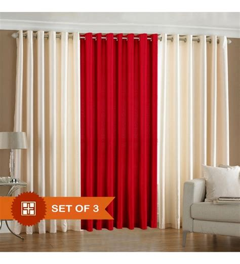 red and cream curtains with eyelets pindia cream red eyelet door curtain set of 3 7 ft by