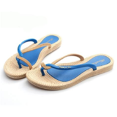 grass sandals womens charm bohemia flat flip flops thongs slippers