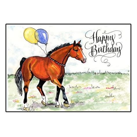 Birthday Cards With Horses On Them Horse Birthday Card With Hand Calligraphy