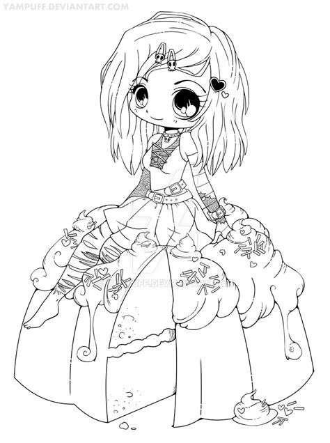 chibi food coloring pages goth chibi on a cake lineart by yampuff on deviantart