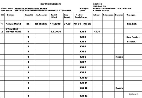 format buku daftar kunci pejabat pengurusan stor stok