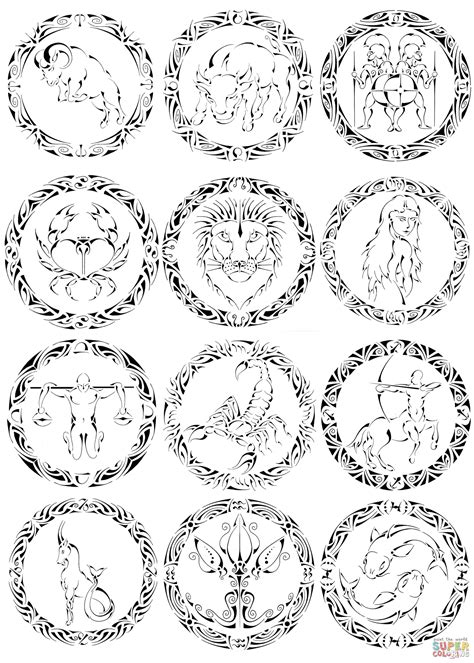 zodiac signs by curvy tribal coloring page free