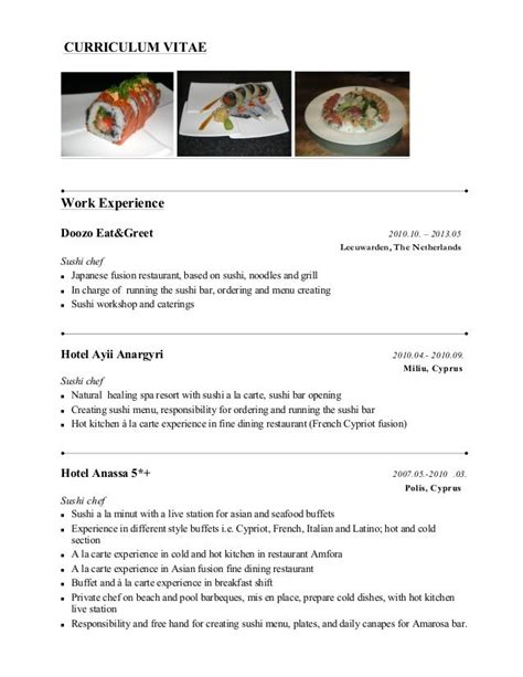 sushi chef resume sle pin by resumejob on resume resume