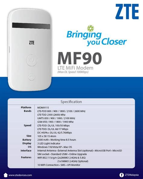 Modem 4g Lte Zte Mf90 zte malaysia on quot powered up with zte mf90 lte mifi modem with max dl speed of 100mbps