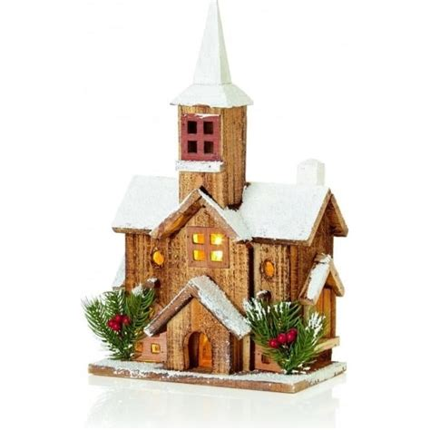 how to make wooden a christmas church premier decorations battery operated 5 led illuminated nordic wooden church with steeple