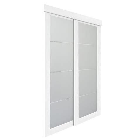 Interior Door Lowes 31 In X 82 In White Colored Glass Interior Sliding Door At Lowe S Canada 0605132z1w2500