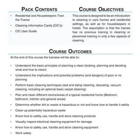 Course Objectives And Outcomes Mba by Cleaning Masterclass On Site For Cleaners With
