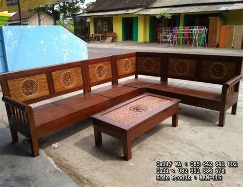 Kursi Sudut Kayu Pasuruan kursi sudut minimalis kayu jati ceplok mebel kayu minimalis