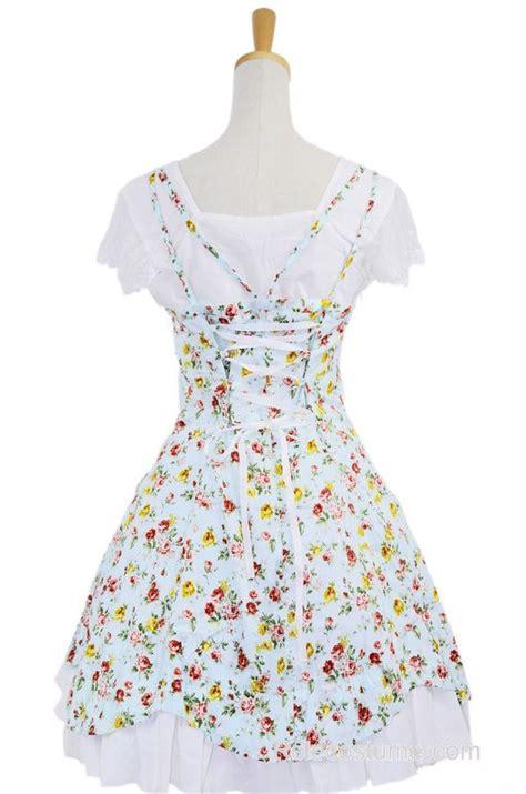 Dress Cotton Sweet Blue D203c3 blue 100 cotton floral lace sweet dress