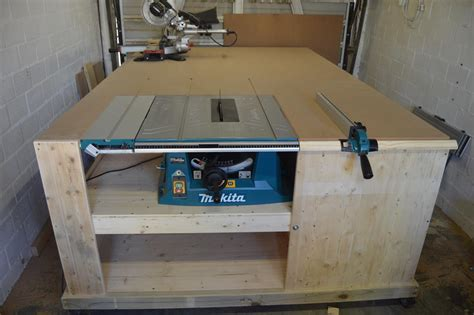 all in one table table saw installed to workbench all in one woodworking