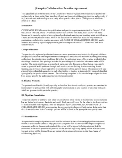 practitioner contract template practitioner collaborative agreement sle image