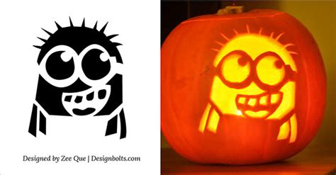 5 free halloween minion pumpkin carving stencils patterns