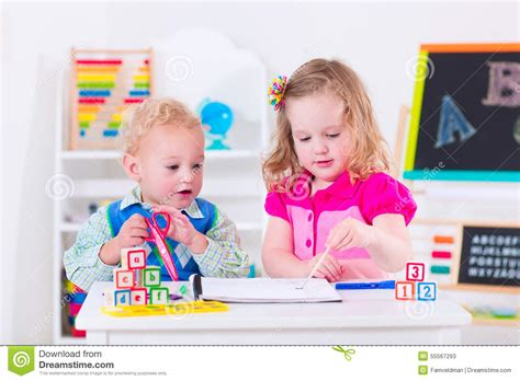 Little People Day Nursery by Kids At Preschool Painting Stock Photo Image 55567293