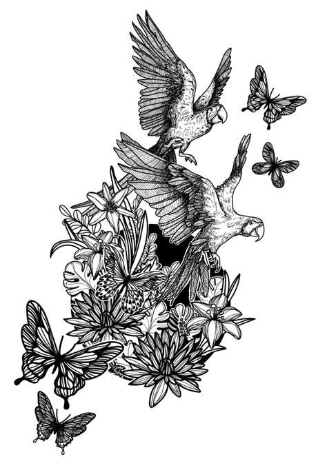 Naturaleza mano dibujo flores pájaros y mariposas bosquejo