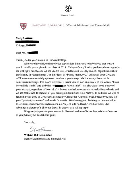 Rejection Letter Meme Harvard Rejection Letter Memes