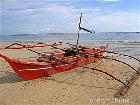 fishing boat business philippines red banca outrigger fishing boat philippines stock image