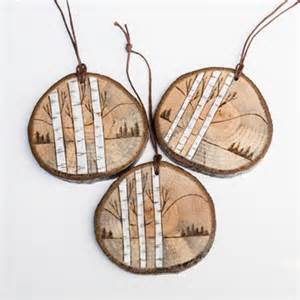 Scene ornament on spalted oak rustic wooden christmas ornament