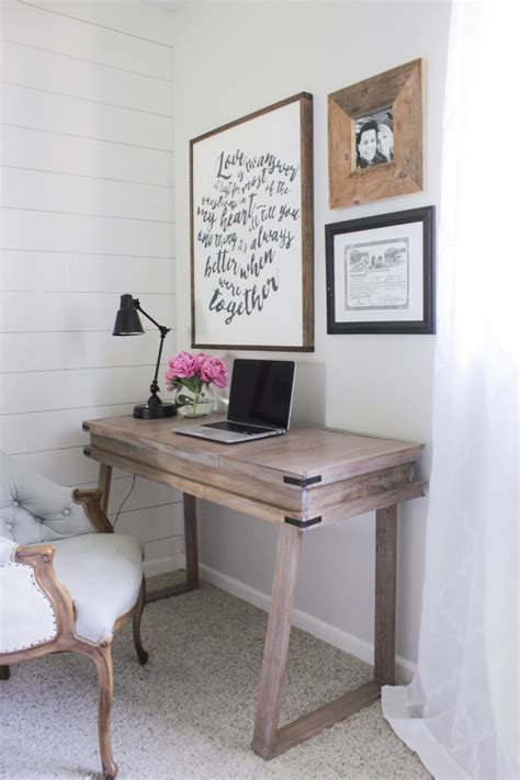weathered wood writing desk creating a white washed weathered oak finish