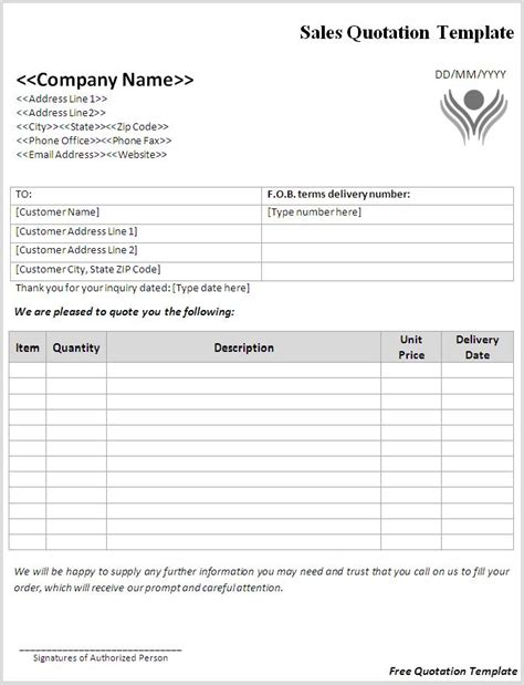 quote forms template free quotation format pdf building construction in pdf