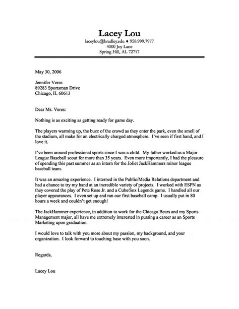 Sports Cover Letter by Sports Marketing Cover Letter