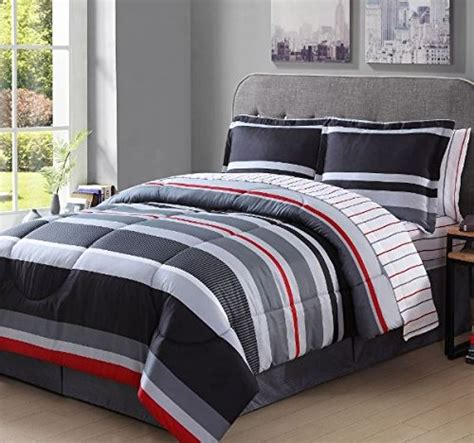 gray and red bedding 8 piece boys full rugby stripes comforter set gray white