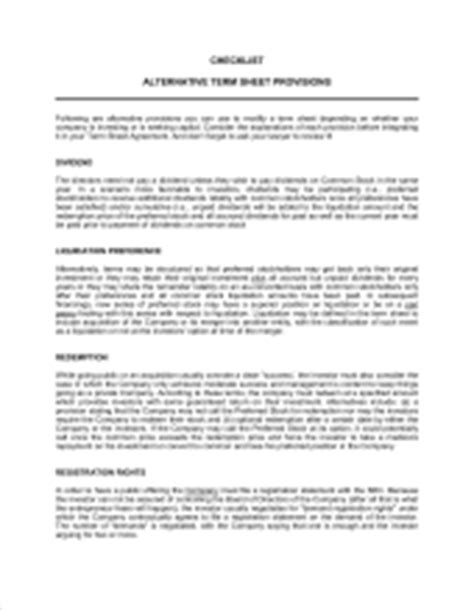 Term Sheet For Series A Round Of Financing Template Sle Form Biztree Com Series A Term Sheet Template