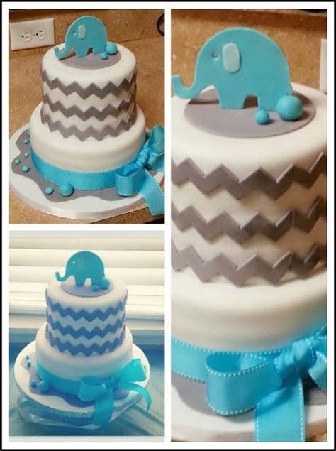 Templates For Baby Shower Cakes | chevron and elephant baby shower cake hand drawn