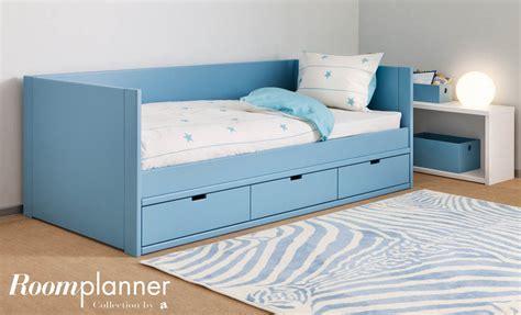 cama nido lacada en azul  cajones