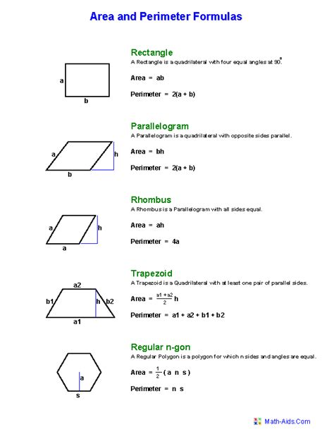 Area Formula | geometry worksheets area and perimeter worksheets